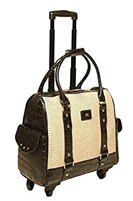 Python & Black Alligator iPad Tablet or Laptop Computer Four Wheel Spinner Rolling Briefcase, Tote or Carryall