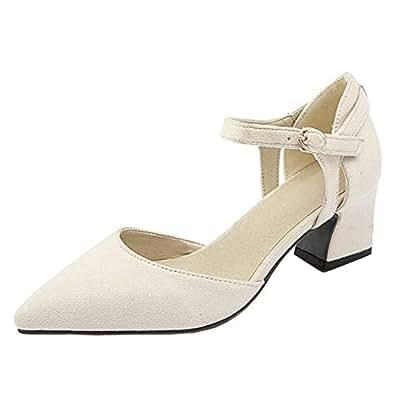ELEEMEE Women Fashion Block Heel Pointed Toe Pumps Wedding Party Dress Pumps Shoes Beige Size 32 Asian