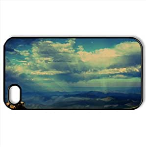 Crepuscular Rays Over Mountains Watercolor style Cover iPhone 4 and 4S Case (Landscape Watercolor style Cover iPhone 4 and 4S Case)