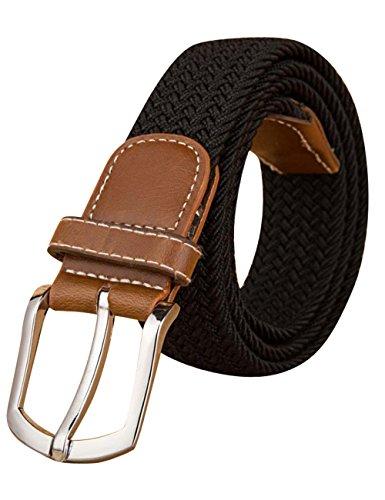 Menschwear Mens Nylon Stretch Woven Belt Steel Buckle Black