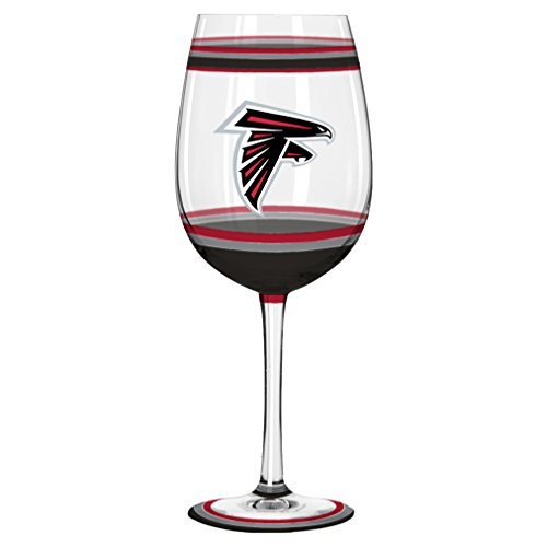 NFL Atlanta Falcons Brushed Hand Painted Wine Glass, 18-ounce