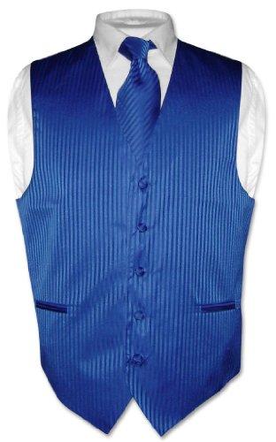 Vesuvio Napoli Men's Dress Vest & NeckTie ROYAL BLUE Color Vertical Striped Neck Tie Set sz 2XL