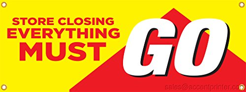 Store Closing Everything Must Go Vinyl Display Banner with Grommets, 3'h x 8'w, Full Color