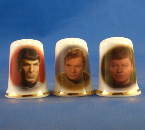 Porcelain China Collectable Thimbles - Set of Three Star Trek Original