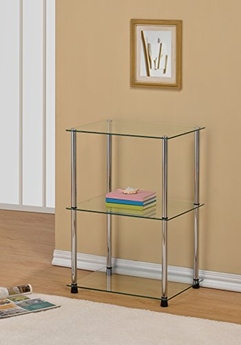 3-Tier Glass Accent Side Lamp End Table Shelf, Clear Glass