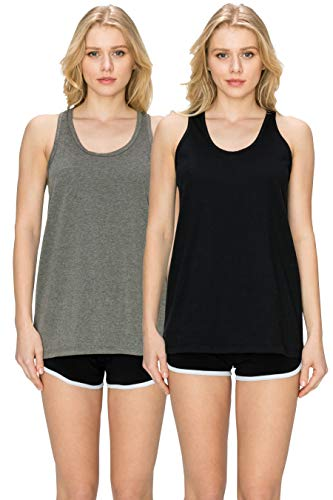 EttelLut Loose Fit Relaxed Flowy Knit Womans Tank Tops: Workout Jersey Sexy Pack Black/Charcoal S