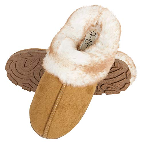 Jessica Simpson Women's Faux Fur Clog - Comfy Furry Soft Indoor House Slippers with Memory Foam