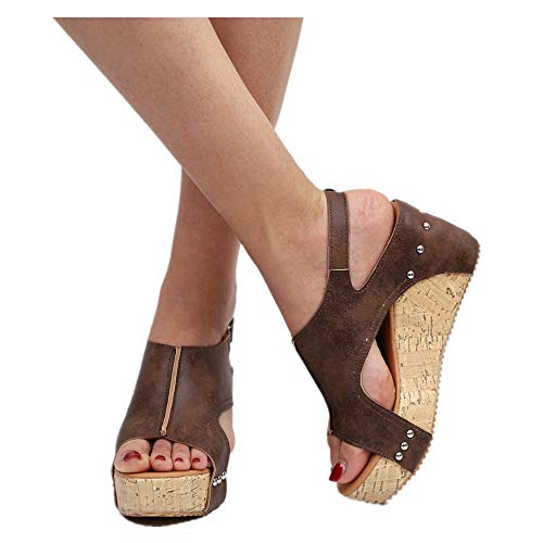 (Women Platform Wedges Sandals - Summer Cutout Open Toe Ankle Strap Beach Dress Wedding Shoes (Brown, US:5.0) )