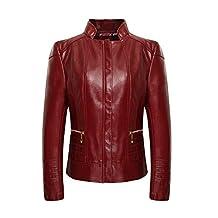 iLory Women Zipper Collar Faux Leather Jacket Biker Jacket Casual Coat Plus Size