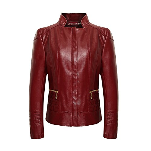 Jacket en Collier en Zipper Veste Leather VesteVeste Femme cuir iLory Rouge Biker cuir Blouson nqzYxA