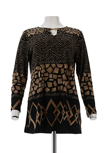 - Susan Graver Printed Liquid Knit Long SLV TunicKeyhole Taupe S New A258611
