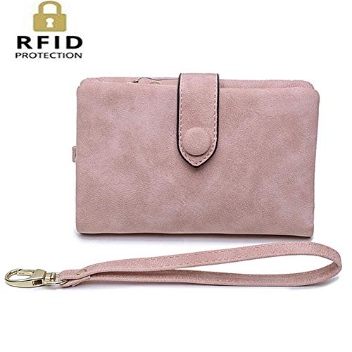 ALAIX Womens RFID Blocking Soft Leather Small Wallet Trifold Credit Card Holder Organizer with Wristlet