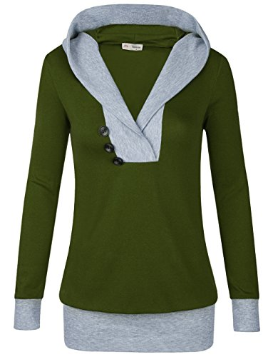 Timeson Hoodies Sweatshirt, Womens Long Sleeve Knitted Panel Hooded Casual Sweatshirt (Small, Army (Casual Hooded Long Sleeve)