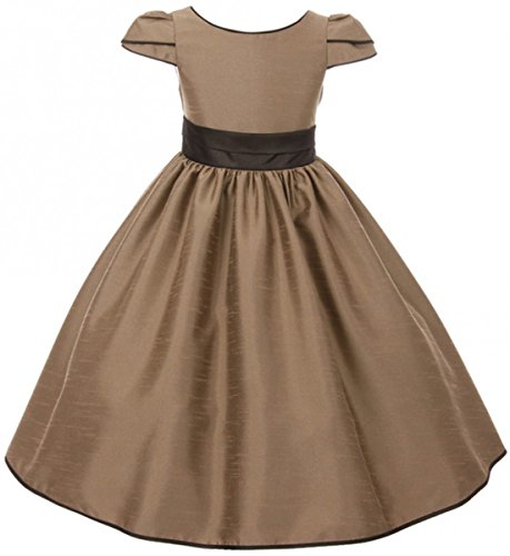 Big Girl Dress Tulip Sleeves Brown Trim Flared Christmas Holiday Flower Girl Dress Taupe 12 (K40D6) (Brocade Tulip Skirt)