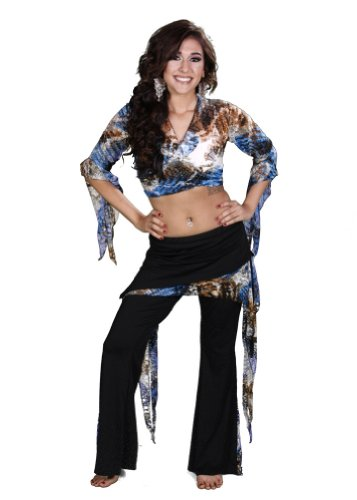 Lycra Costume Patterns (Belly Dance Pera Pattern Lycra Top & Pants Costume Set | Raqs Rua - Marble - Extra Large)