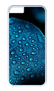Macro leaf blue water drops PC White Hard Case for Apple iPhone 6(4.7 inch)
