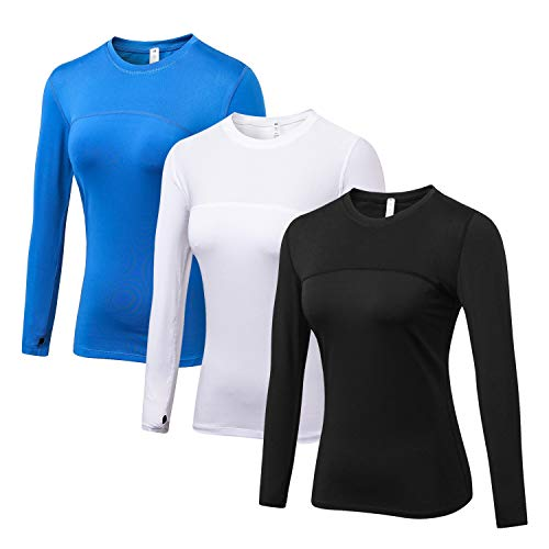 WANAYOU Women's Compression Tops Performance Athletic Long Sleeve Shirt Moisture Wicking Workout T-Shirt Tops (S(US4-6), 3 Pack(Black+White+Blue))
