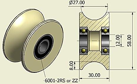 4 Pack de 4/x 58/mm de di/ámetro mecanizado nailon polea ruedas Groove varios tama/ños hecho en la UE 16 mm Groove