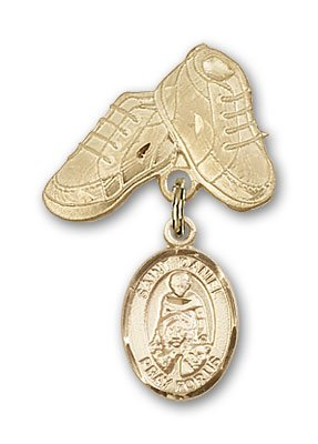 ReligiousObsession's 14K Gold Baby Badge with St. Daniel Charm and Baby Boots Pin
