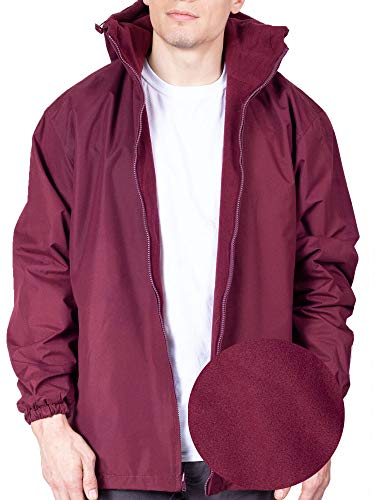 Maxxsell Mens Reversible Fleece Lined Hooded Windbreaker Rain Jacket (Large, Burgundy)