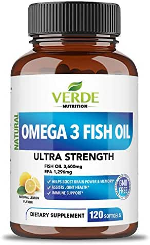 Verde Nutrition Omega 3 Fish Oil Dietary Supplement – Ultra Strength 3,600mg High EPA and DHA Capsules – Enhance Memory and Brain Functions – Healthy Joints – Strong Immune System - Lemon Flavor