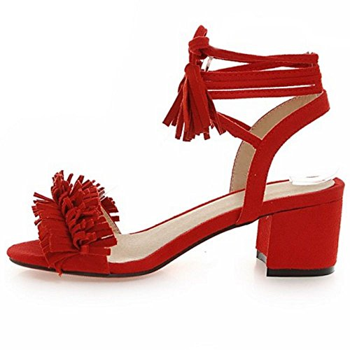 COOLCEPT Women Fashion Bohemia Ankle Lace Strap Sandals with Fringe Red 716 fmBLMmc1