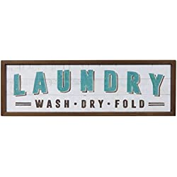 NIKKY HOME Decorative Wooden Framed Wall Plaque Laundry Sign, Blue