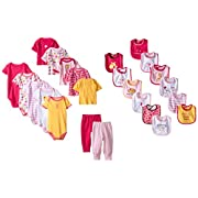 Luvable Friends Baby 24 Piece Gift Cube, Pink Safari, 0-6 Months