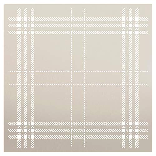 Plaid Stencil by StudioR12 | London Stripe Pattern | Paint Wood Signs | Reusable Mylar Template | Craft Home Decor Background | DIY Scrapbook - Journal - Card - Fabric - Stamp | Select Size