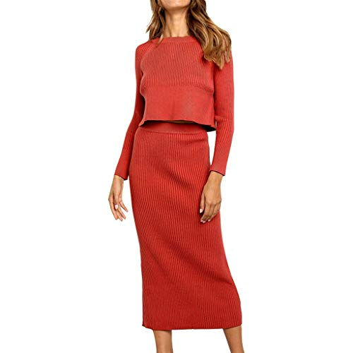 Henwerd Women's Fashion Solid High-Waist Vintage Skirt Polyester Mid-Calf Casual Slim Straight Skirt (Red Suit, M) (Names Polyester Other For)