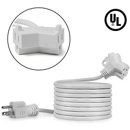 Maximm Cable 10 Feet 2 Outlet Extension Cord/Wire, Electrical Power Cord 3 Prong Grounded Wire, 16Awg - White - UL Listed