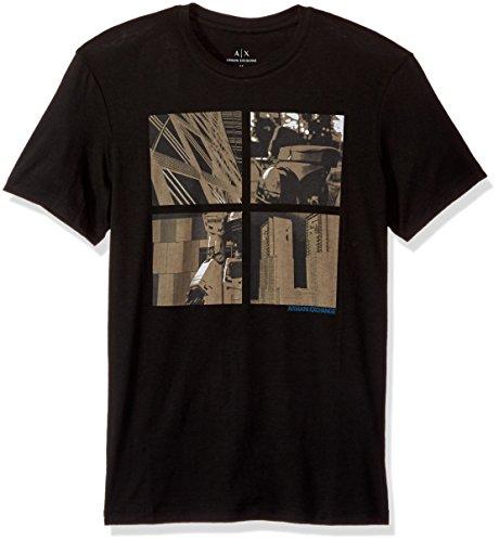 A|X Armani Exchange Men's Four Square City Print Crew Neck Tee, Black, - Armani Exchange