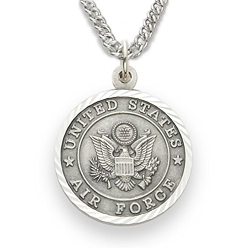 Religious Gifts Sterling Silver Saint Michael Protect Me Air Force Military Medal, 1 Inch