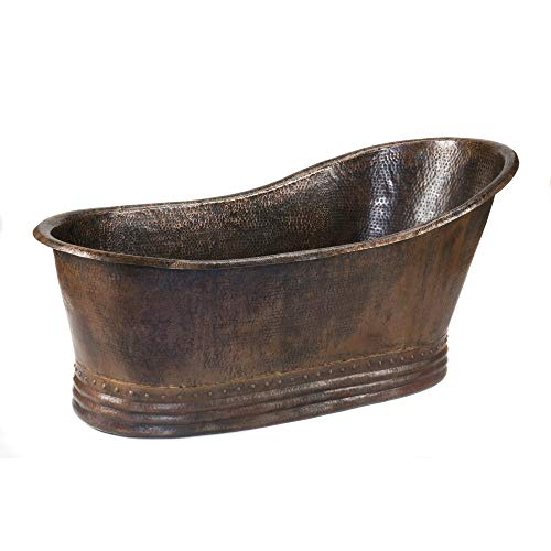 (Premier Copper Products BTS67DB 67-Inch Hammered Copper Single Slipper Bathtub, Oil Rubbed Bronze)