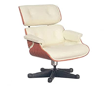Dollhouse Miniature Eames Lounge Chair In White By Town Square Miniatures
