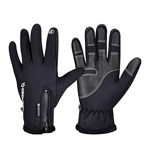 (AUSHEN Cycling Gloves Full Finger Touch Screen Waterproof Windproof Gloves Winter Warm Snow Gloves Outdoor Sport Gloves Thermal Gloves for Adult Men Women (Medium))
