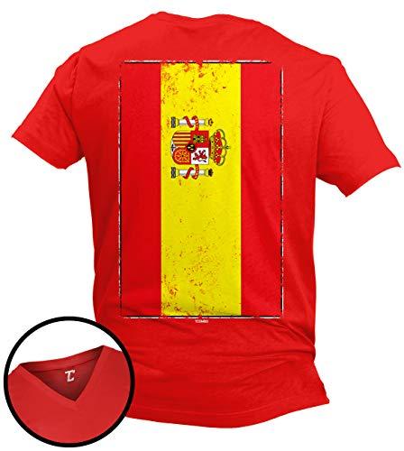 (Distressed Spain Flag - Spanish Latino Unisex V-Neck T-Shirt (Red - Back Print, X-Large))