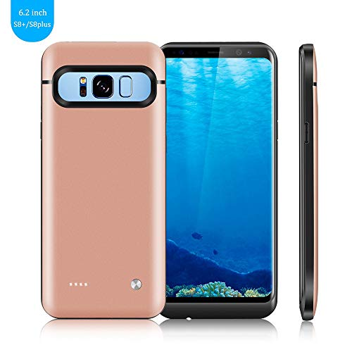 Galaxy S8 Plus Battery Case,FIDEA 5000mAh Rechargeable Slim External Battery Case,with Rechargeable External Battery,Portable Charger Power Bank Cover for Samsung Galaxy S8 Plus (Rose Gold)