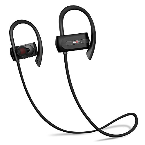 Price comparison product image HiGoing Wireless running Headphones Bluetooth Sports Earbuds Waterproof Earphones with Mic Earhook, Deep Bass with Noise Cancelling Headset - Black