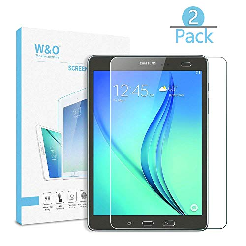[2-Pack] T550 9.7 Tab A Glass Screen Protector,W&O Tempered Glass Protector Screen Film for Samsung Galaxy Tab A 9.7 T550 Crystal Clear High Definition Bubble Free Anti Scratched