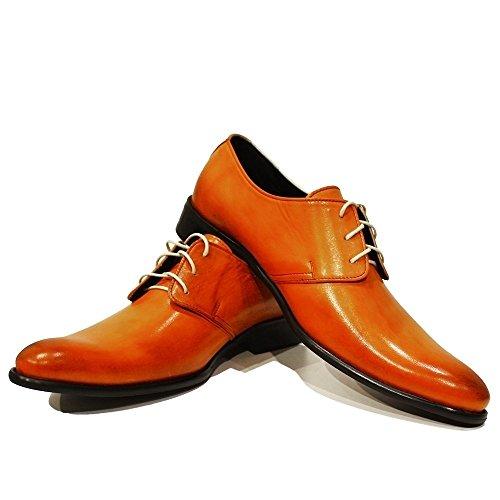 PeppeShoes Modello Tado - Handmade Italiano da Uomo in Pelle Arancia Scarpe da Sera - Vacchetta Pelle Verniciata a Mano - Allacciare