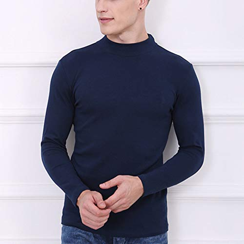 Para Manga Interior Cuello Larga Invierno Tops Ropa Marino Hombre Cómodo Camiseta Azul Térmica Alto q6fntt