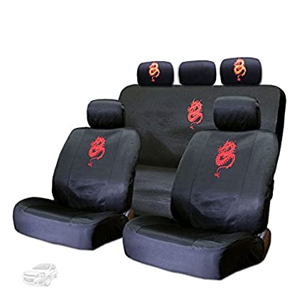 New Embroidery Red Dragon Design Car Seat Covers And Headrest Cover Gift Set