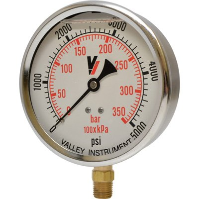 Valley Instrument Grade A 4in. Stem Mount Glycerin Filled Gauge - 0-5000 PSI