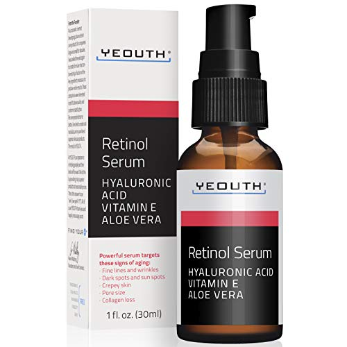 Retinol Serum 2.5% with Hyaluronic Acid, Aloe Vera, Vitamin E - Boost Collagen Production, Reduce Wrinkles, Fine Lines, Even Skin Tone, Age Spots, Sun Spots - 1 fl oz. - Yeouth … (1oz)