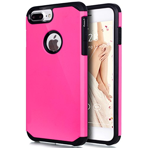 Price comparison product image iPhone 8 Plus Case,iPhone 7 Plus Case,ikasus Hybrid Heavy Duty Shockproof Full-body Dirtproof Silicone & Hard PC Dual Layer Non-slip Grip Protection Bumper Case for iPhone 8 Plus / 7 Plus - Hot Pink
