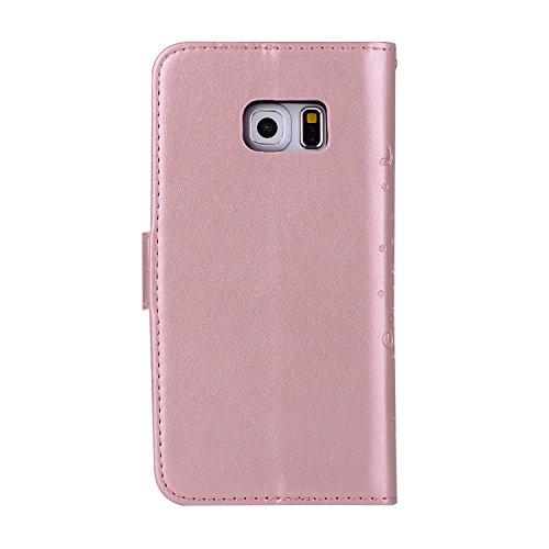 Funda Galaxy S6,SainCat Funda de diseño en relieve árbol Cuero sintético tipo billetera con correa de cordón de Suave PU Carcasa Funda soporte doble cara para Funda de Relieve Funda de piel slim Retro Oro rosa