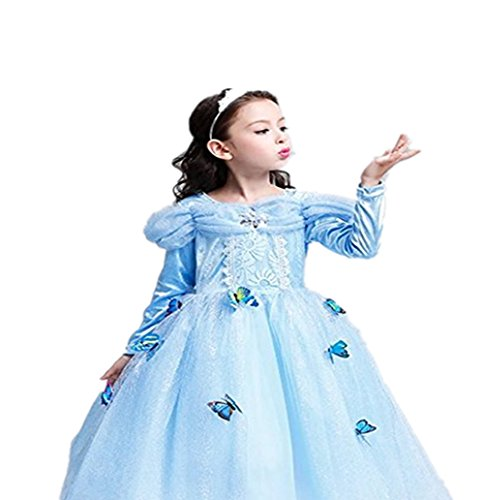 Haimaitao Princess Dress Butterfly Sequins Tulle Lace Tutu Party Costumes Long Sleeve Dress (6-7Y, (Princess Tiana Costume For Teenagers)