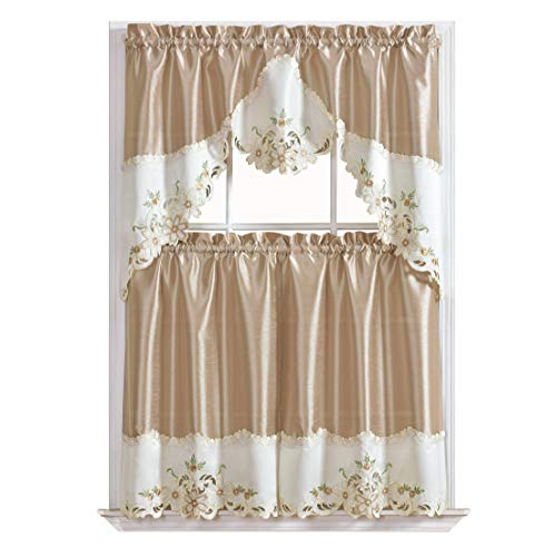 GOHD Golden Ocean Home Decor Arch Floral Kitchen Cafe Curtain Set. Window Treatment Set for Small Windows. Nice Matching Color Floral Embroidery on Border with cutworks (Beige)
