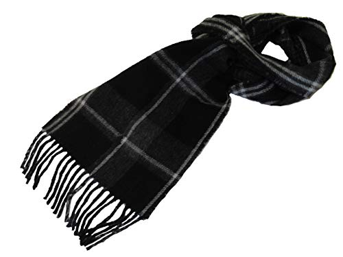 Polo Ralph Lauren Mens Wool Blend Plaid Italy Scarf Black ()